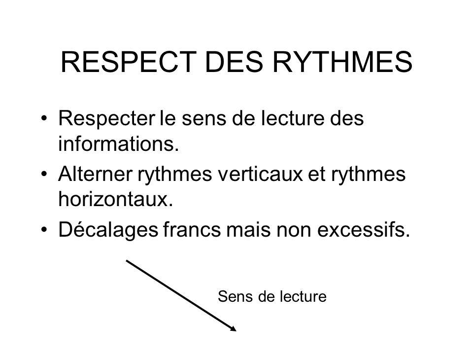 RESPECT DES RYTHMES Respecter le sens de lecture des informations.