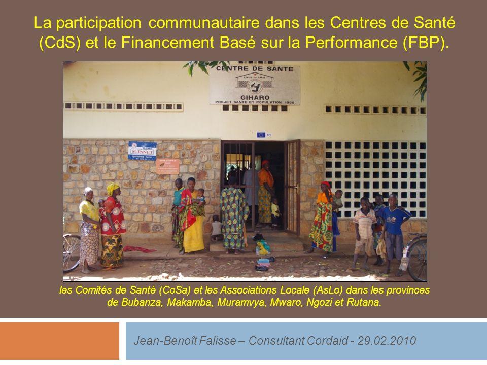 La participation communautaire dans les Centres de Santé (CdS) et le Financement Basé sur la Performance (FBP).