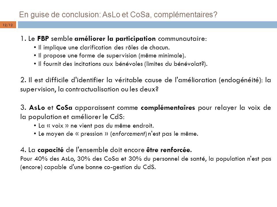 En guise de conclusion: AsLo et CoSa, complémentaires