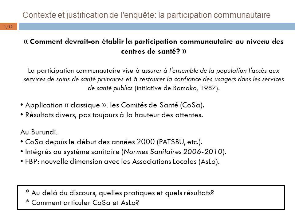 Contexte et justification de l enquête: la participation communautaire