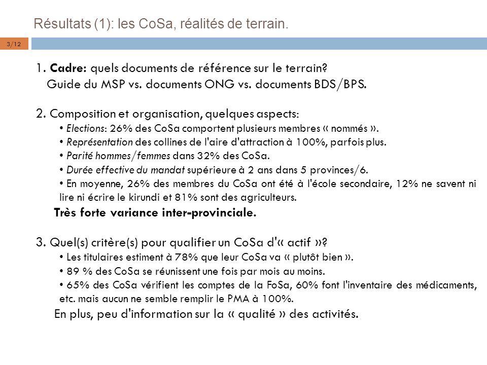 Résultats (1): les CoSa, réalités de terrain.