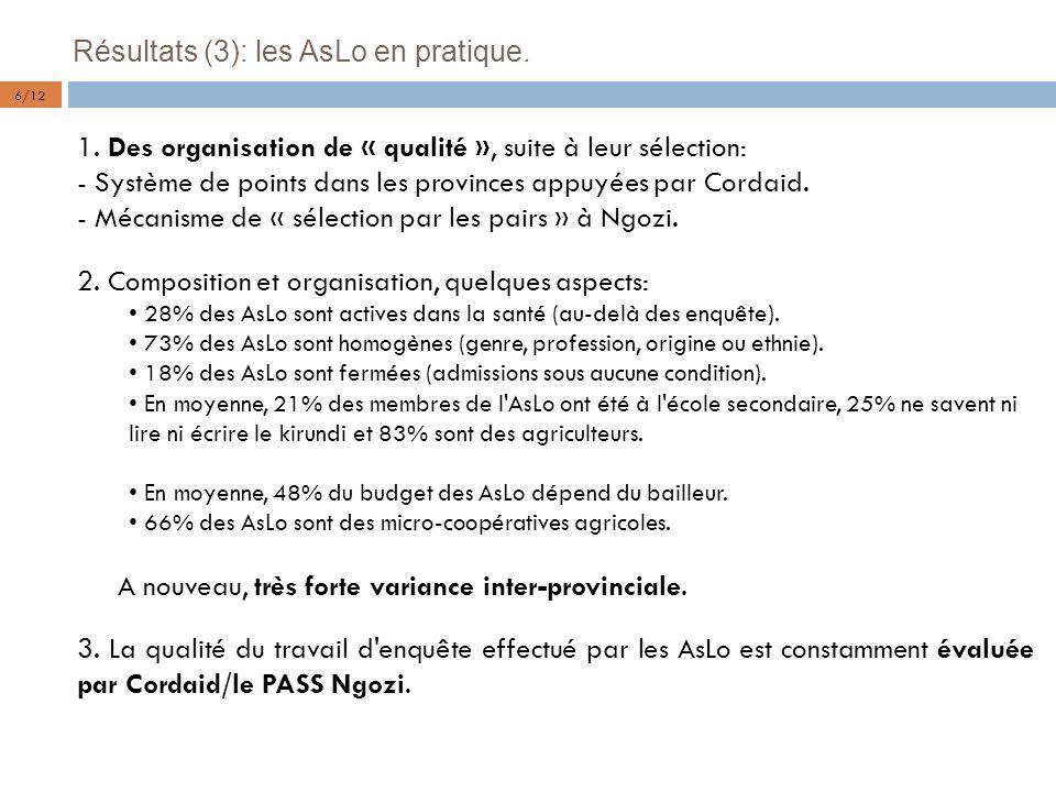 Résultats (3): les AsLo en pratique.