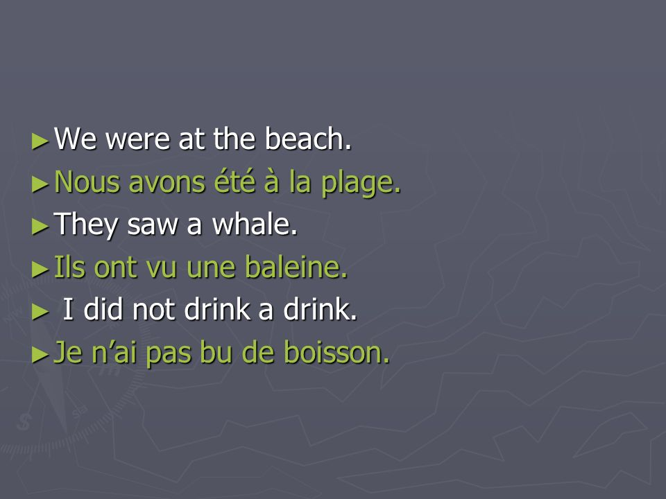 We were at the beach.Nous avons été à la plage. They saw a whale. Ils ont vu une baleine. I did not drink a drink.