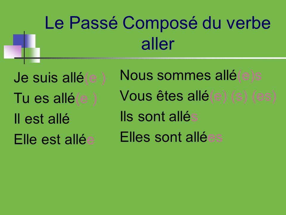 Le Passé Composé du verbe aller