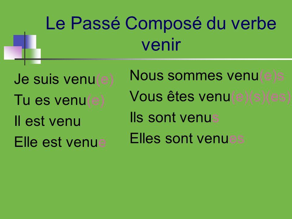 Le Passé Composé du verbe venir