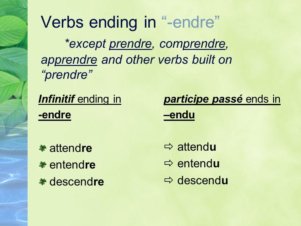 Verbs ending in -endre