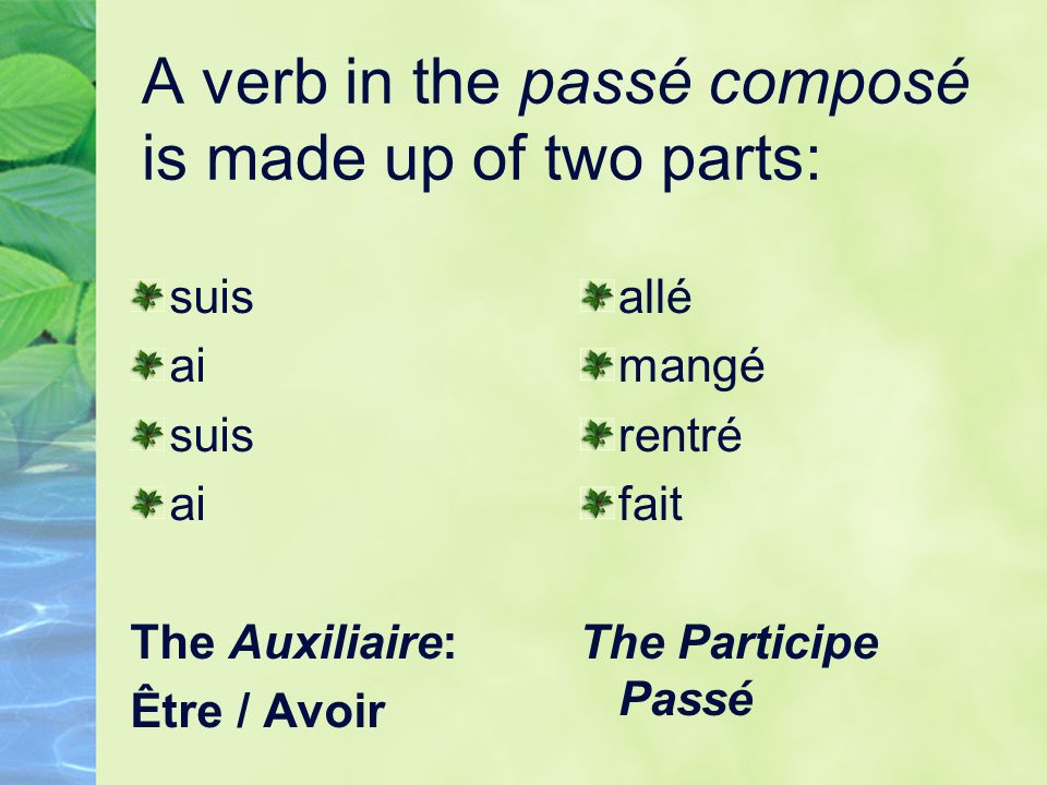 A verb in the passé composé is made up of two parts: