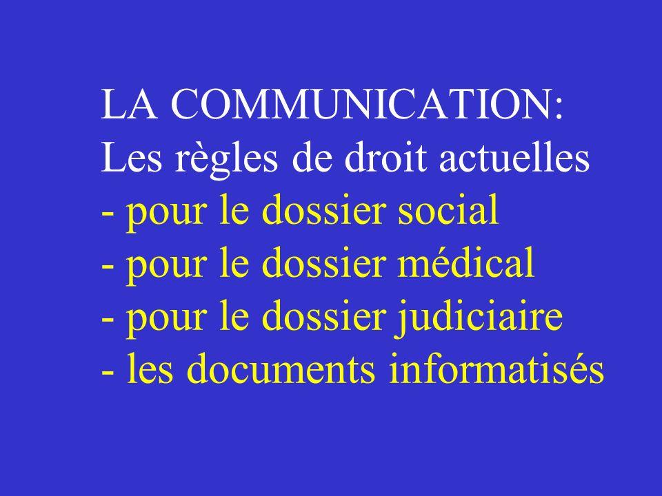 LA COMMUNICATION:. Les règles de droit actuelles