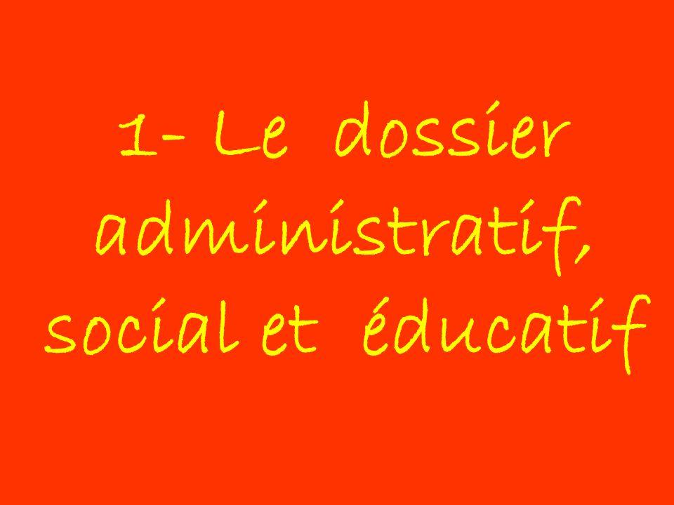 1- Le dossier administratif, social et éducatif
