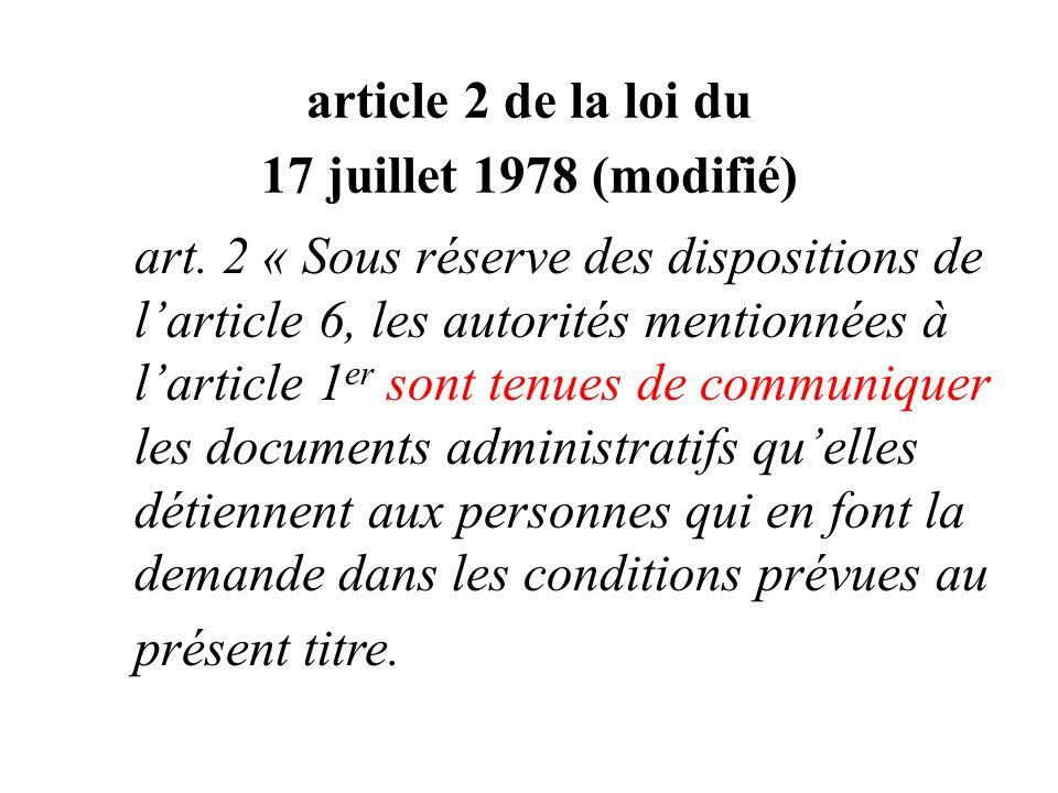 article 2 de la loi du 17 juillet 1978 (modifié)