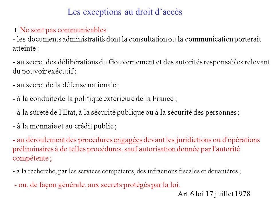 Les exceptions au droit d'accès I