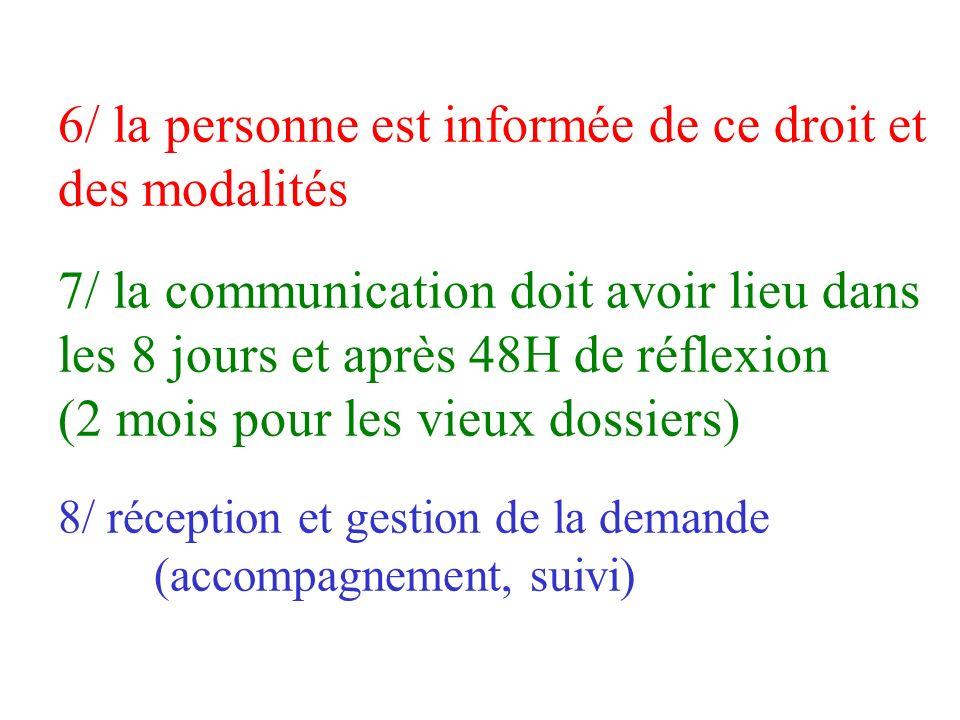 6/ la personne est informée de ce droit et des modalités 7/ la communication doit avoir lieu dans les 8 jours et après 48H de réflexion (2 mois pour les vieux dossiers) 8/ réception et gestion de la demande (accompagnement, suivi)