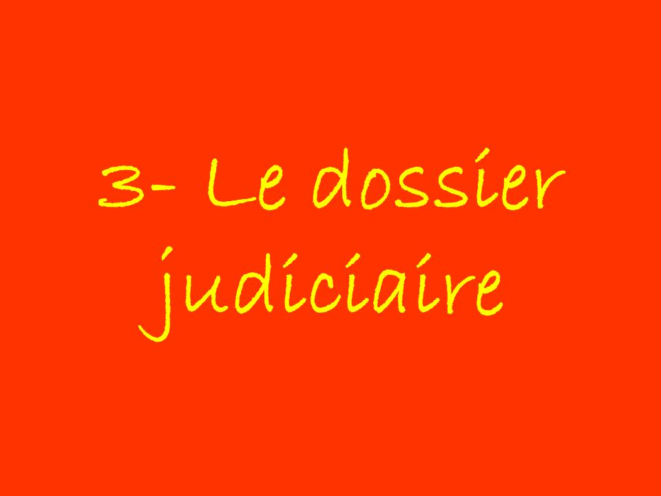 3- Le dossier judiciaire
