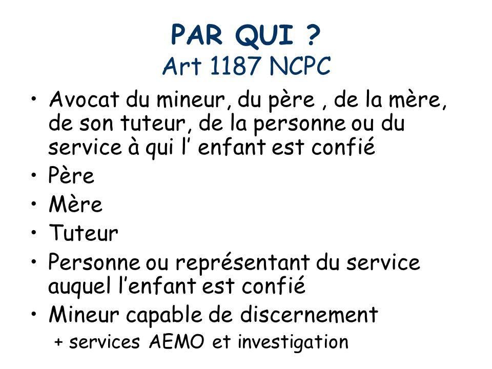 PAR QUI Art 1187 NCPC Avocat du mineur, du père , de la mère, de son tuteur, de la personne ou du service à qui l' enfant est confié.