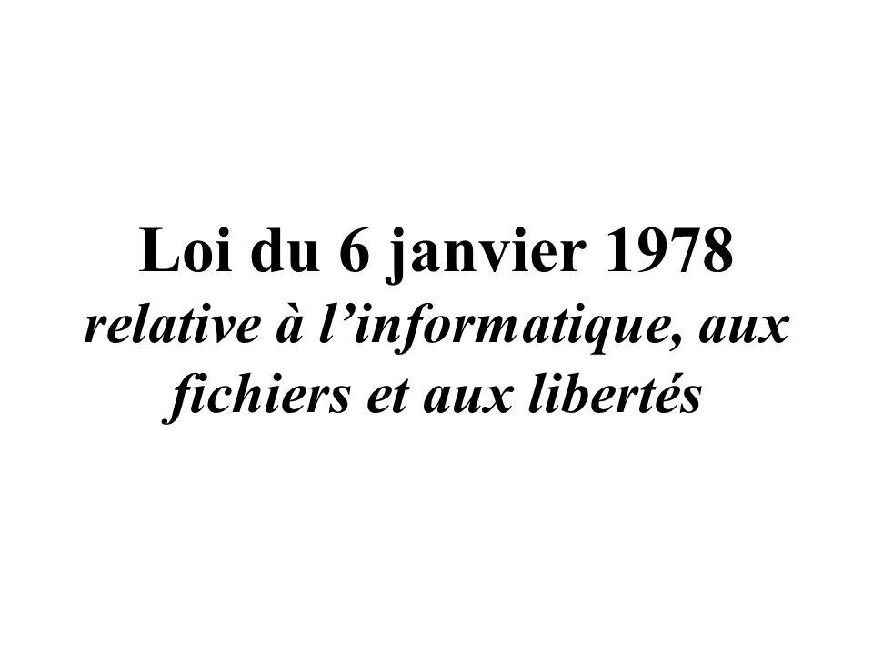 Loi du 6 janvier 1978 relative à l'informatique, aux fichiers et aux libertés