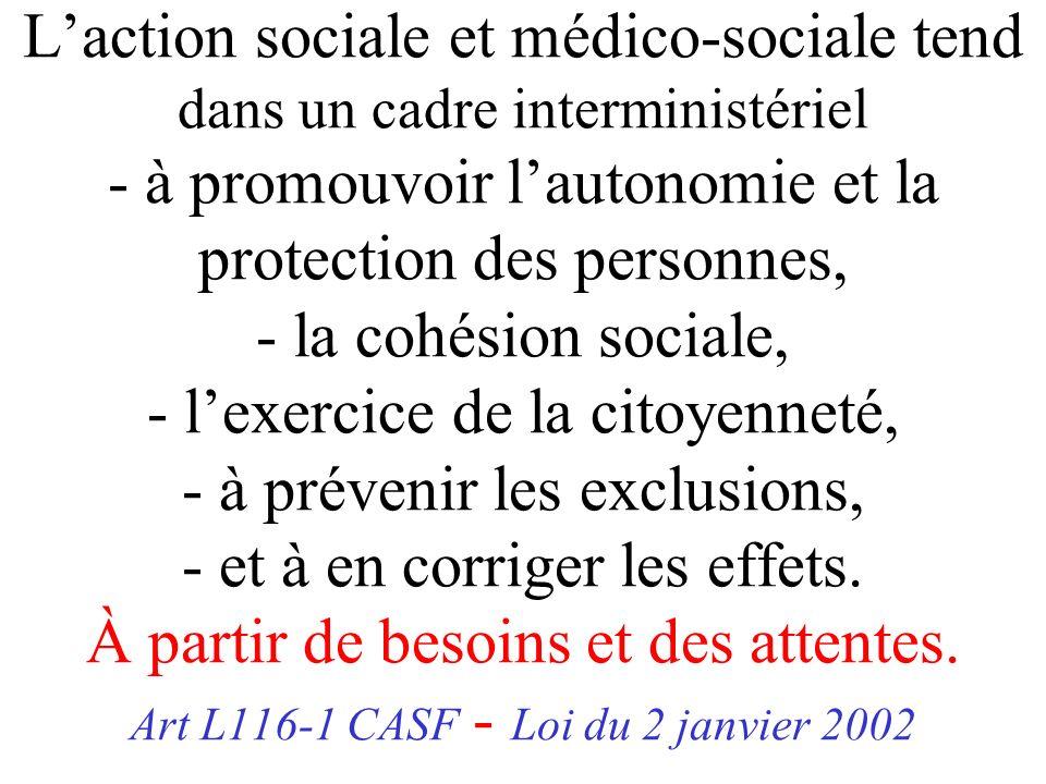 L'action sociale et médico-sociale tend dans un cadre interministériel - à promouvoir l'autonomie et la protection des personnes, - la cohésion sociale, - l'exercice de la citoyenneté, - à prévenir les exclusions, - et à en corriger les effets.