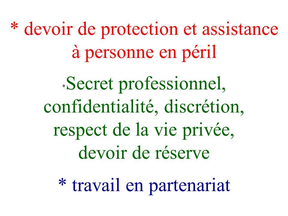 devoir de protection et assistance à personne en péril