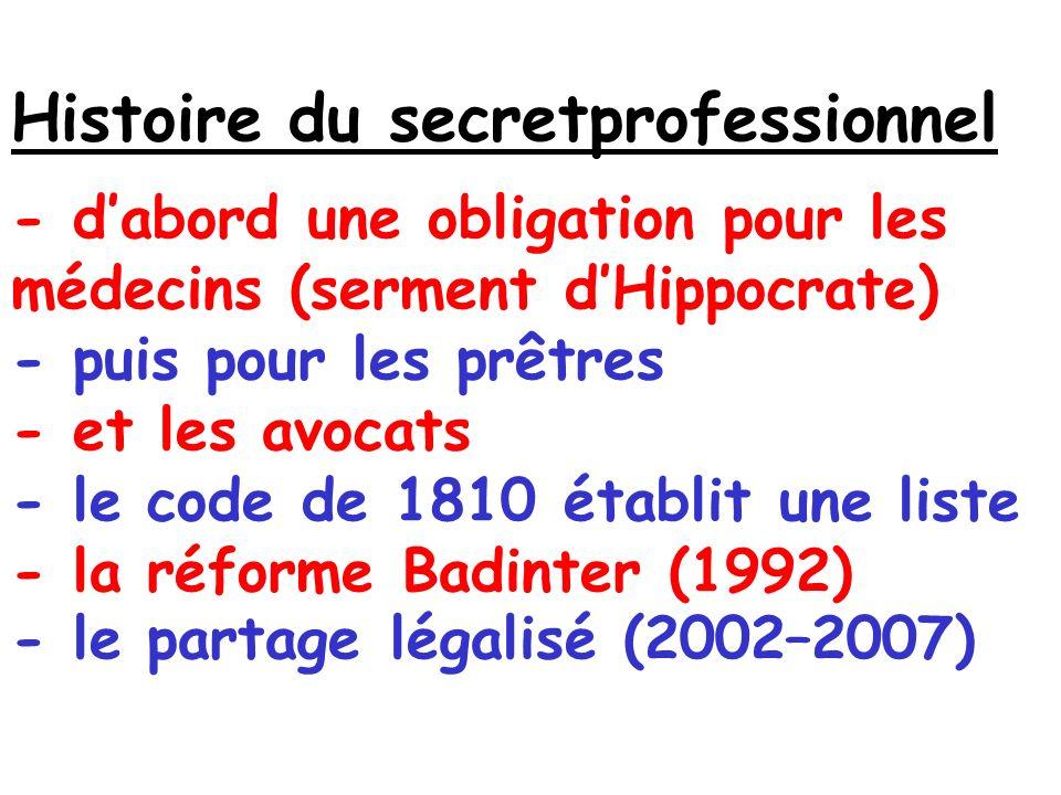 Histoire du secretprofessionnel - d'abord une obligation pour les médecins (serment d'Hippocrate) - puis pour les prêtres - et les avocats - le code de 1810 établit une liste - la réforme Badinter (1992) - le partage légalisé (2002–2007)
