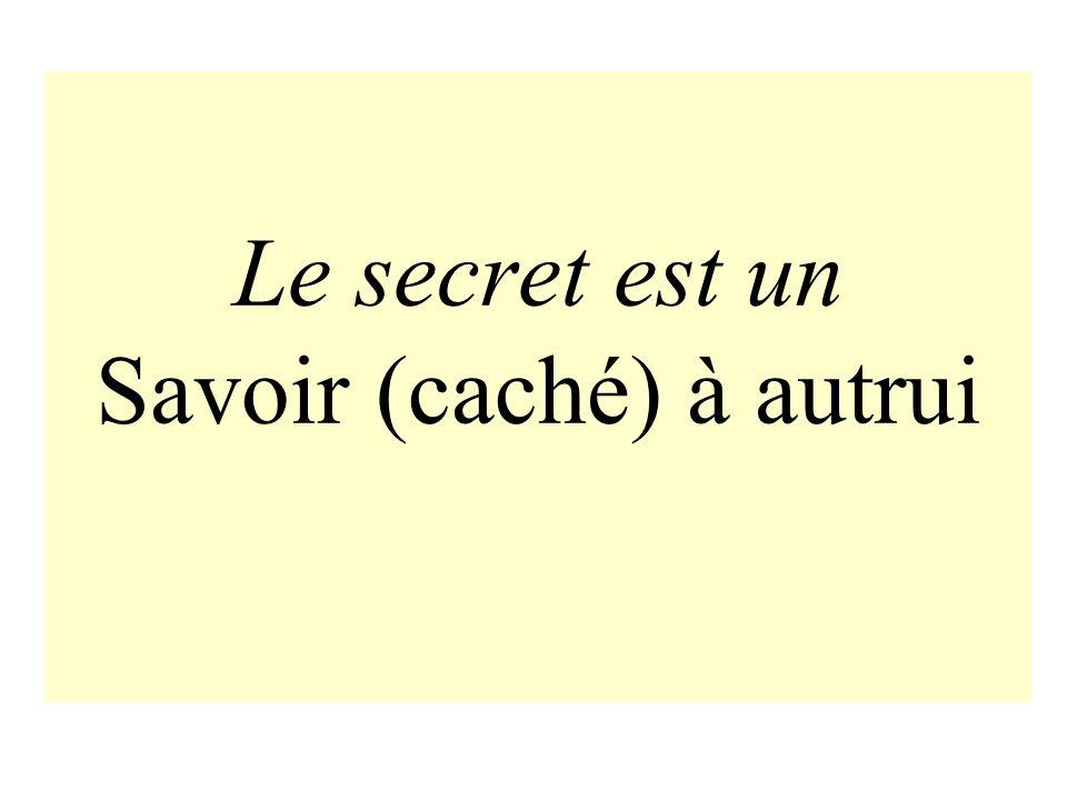 Le secret est un Savoir (caché) à autrui