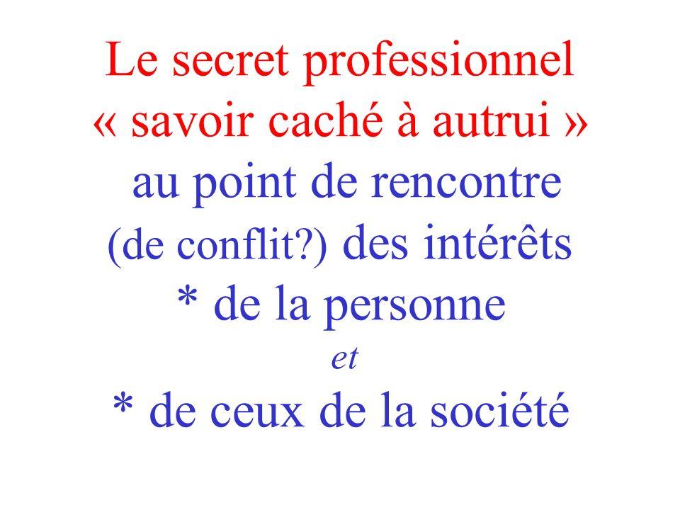 Le secret professionnel « savoir caché à autrui » au point de rencontre (de conflit ) des intérêts * de la personne et * de ceux de la société