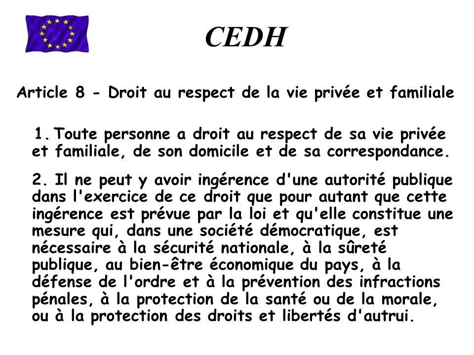 Article 8 - Droit au respect de la vie privée et familiale