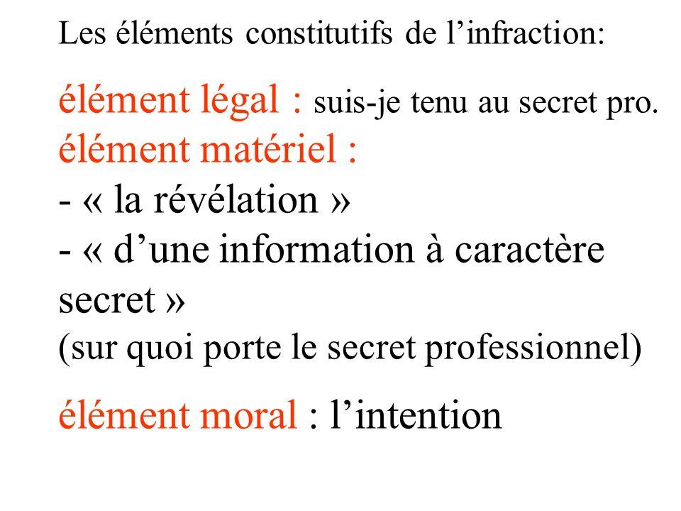 Les éléments constitutifs de l'infraction: élément légal : suis-je tenu au secret pro.