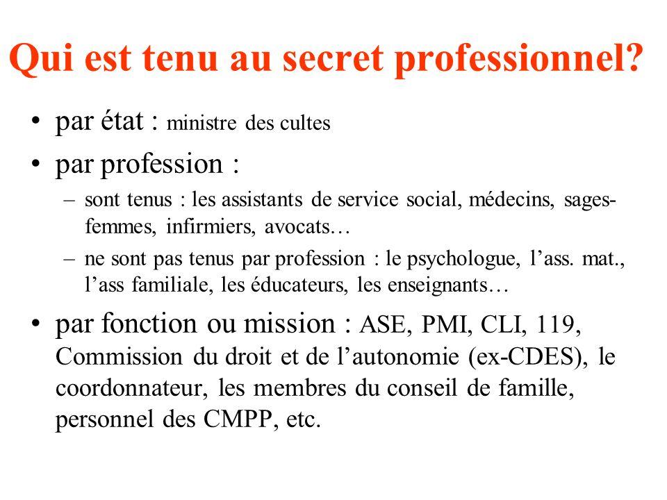 Qui est tenu au secret professionnel