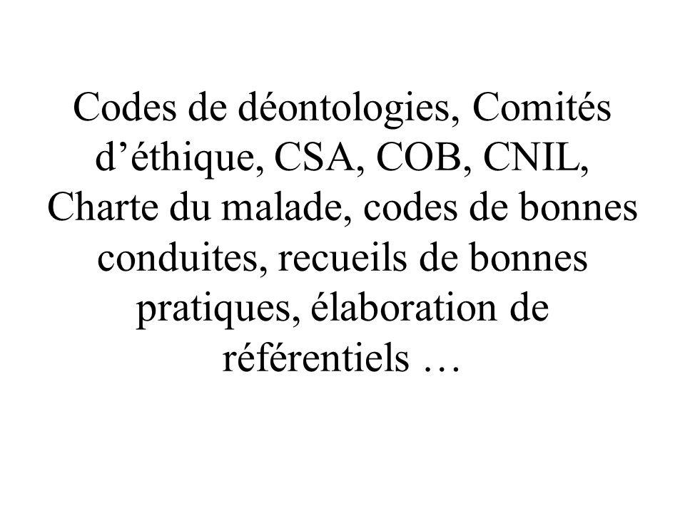 Codes de déontologies, Comités d'éthique, CSA, COB, CNIL, Charte du malade, codes de bonnes conduites, recueils de bonnes pratiques, élaboration de référentiels …