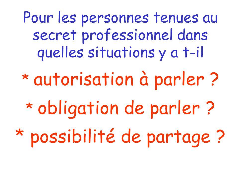 Pour les personnes tenues au secret professionnel dans quelles situations y a t-il * autorisation à parler .
