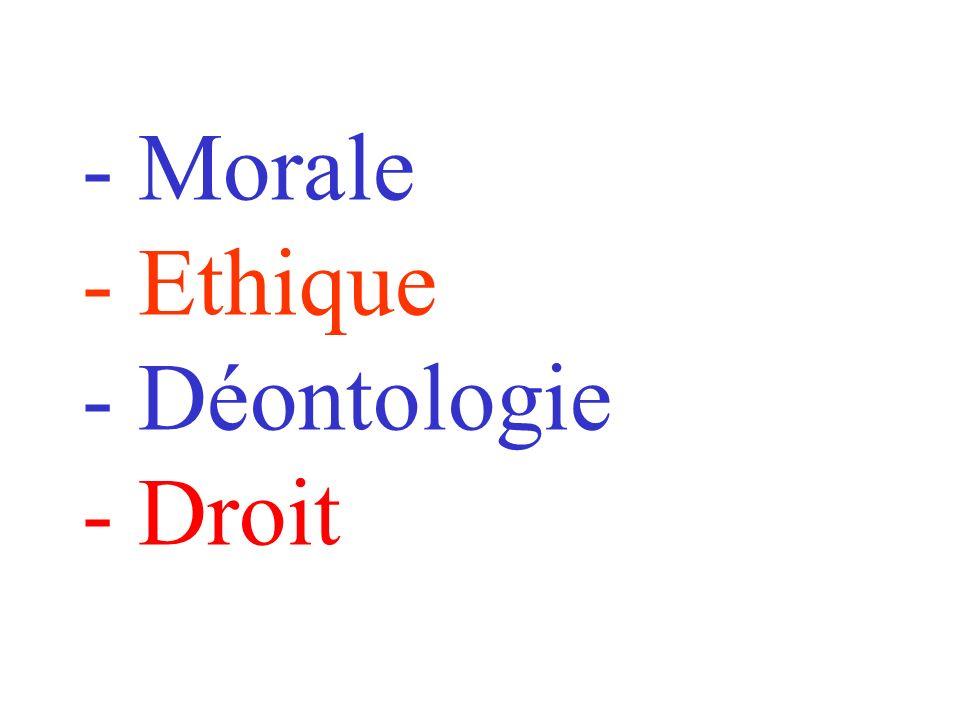 - Morale - Ethique - Déontologie - Droit