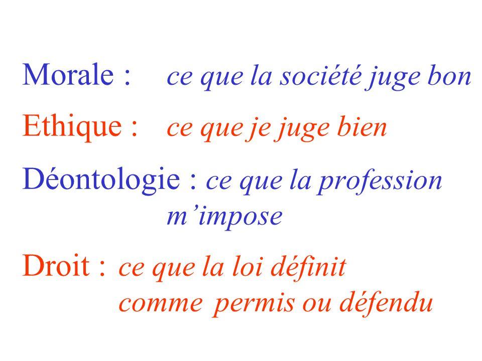 Morale :. ce que la société juge bon Ethique :
