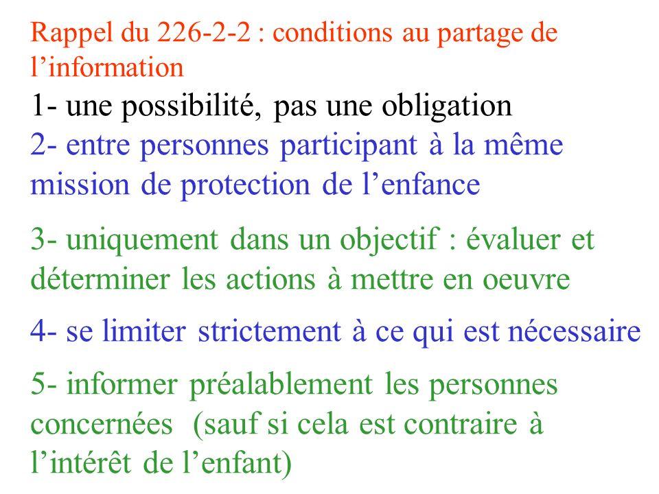 Rappel du 226-2-2 : conditions au partage de l'information 1- une possibilité, pas une obligation 2- entre personnes participant à la même mission de protection de l'enfance 3- uniquement dans un objectif : évaluer et déterminer les actions à mettre en oeuvre 4- se limiter strictement à ce qui est nécessaire 5- informer préalablement les personnes concernées (sauf si cela est contraire à l'intérêt de l'enfant)