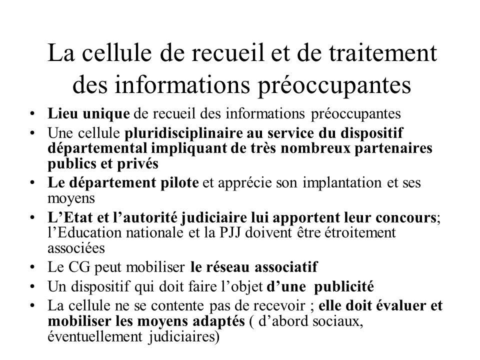 La cellule de recueil et de traitement des informations préoccupantes
