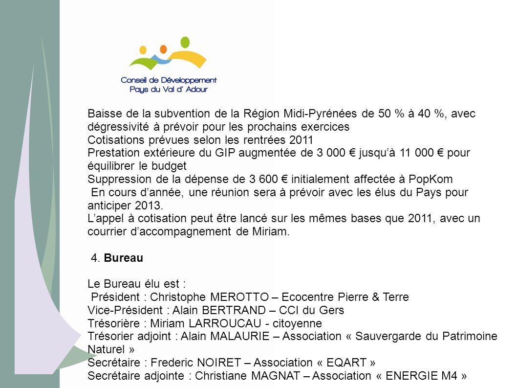 Baisse de la subvention de la Région Midi-Pyrénées de 50 % à 40 %, avec dégressivité à prévoir pour les prochains exercices