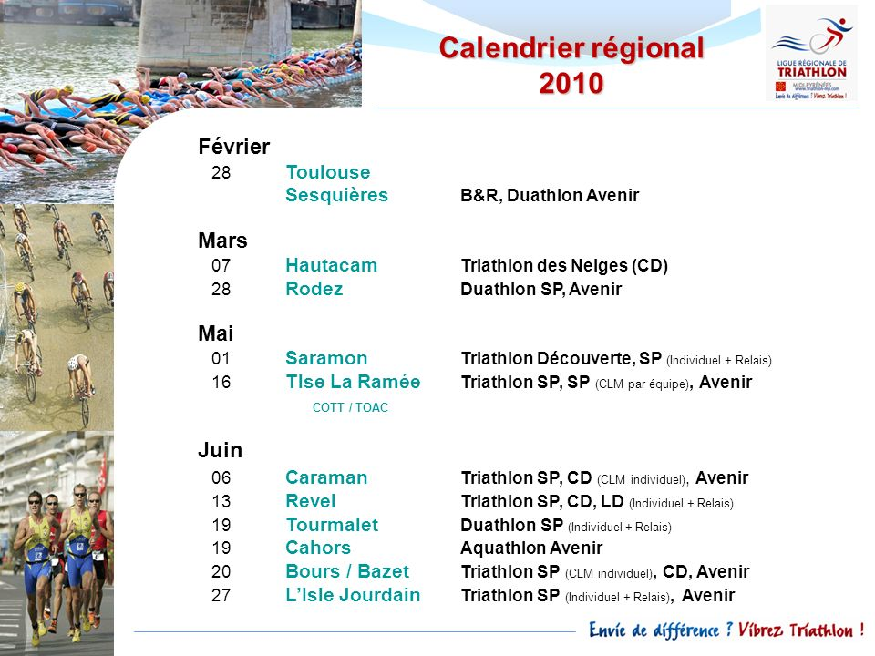 Calendrier régional 2010 Février Mars Mai Juin