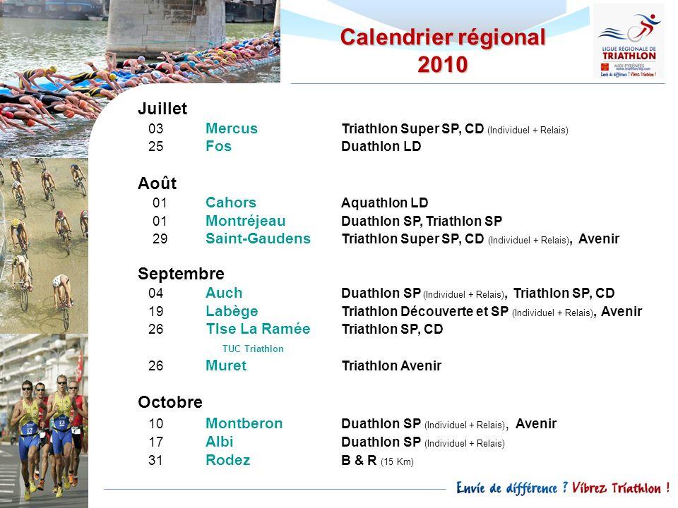 Calendrier régional 2010 Juillet Août Septembre Octobre TUC Triathlon