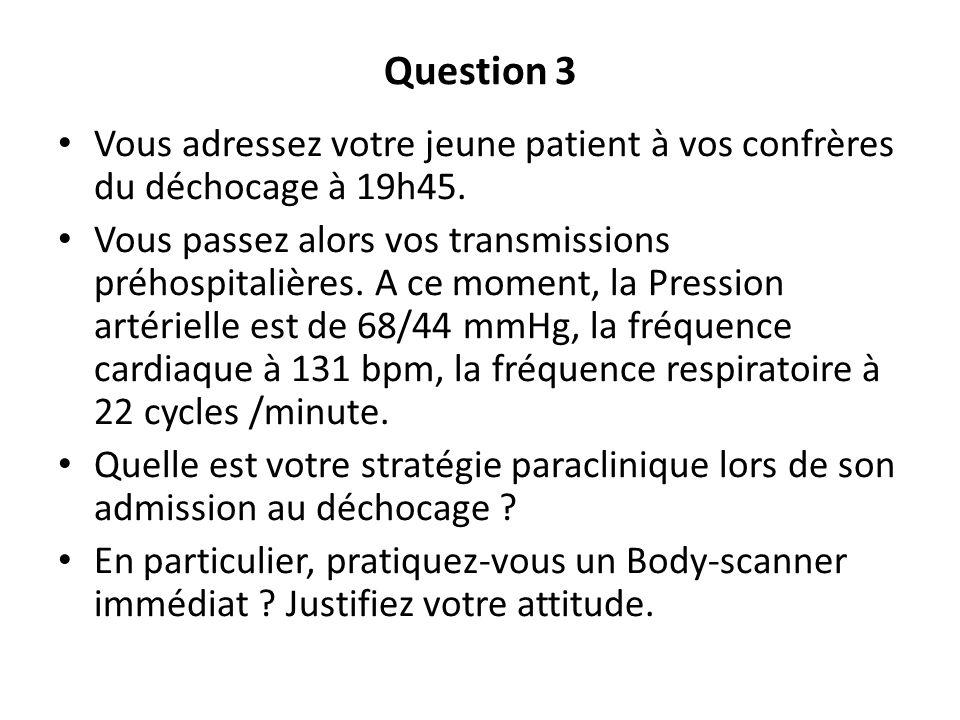 Question 3Vous adressez votre jeune patient à vos confrères du déchocage à 19h45.