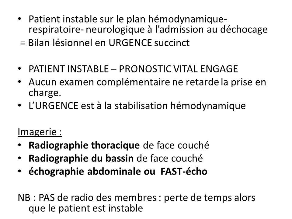 Patient instable sur le plan hémodynamique- respiratoire- neurologique à l'admission au déchocage