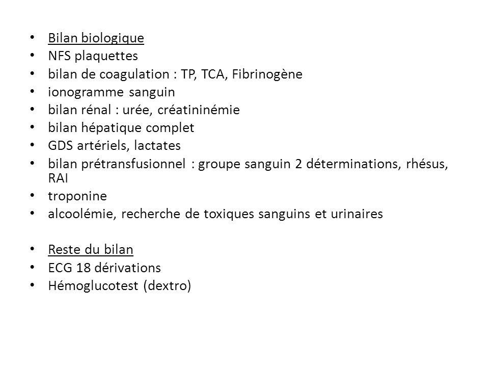 Bilan biologiqueNFS plaquettes. bilan de coagulation : TP, TCA, Fibrinogène. ionogramme sanguin. bilan rénal : urée, créatininémie.