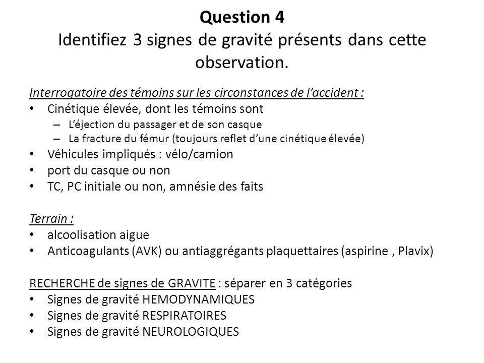 Question 4 Identifiez 3 signes de gravité présents dans cette observation.