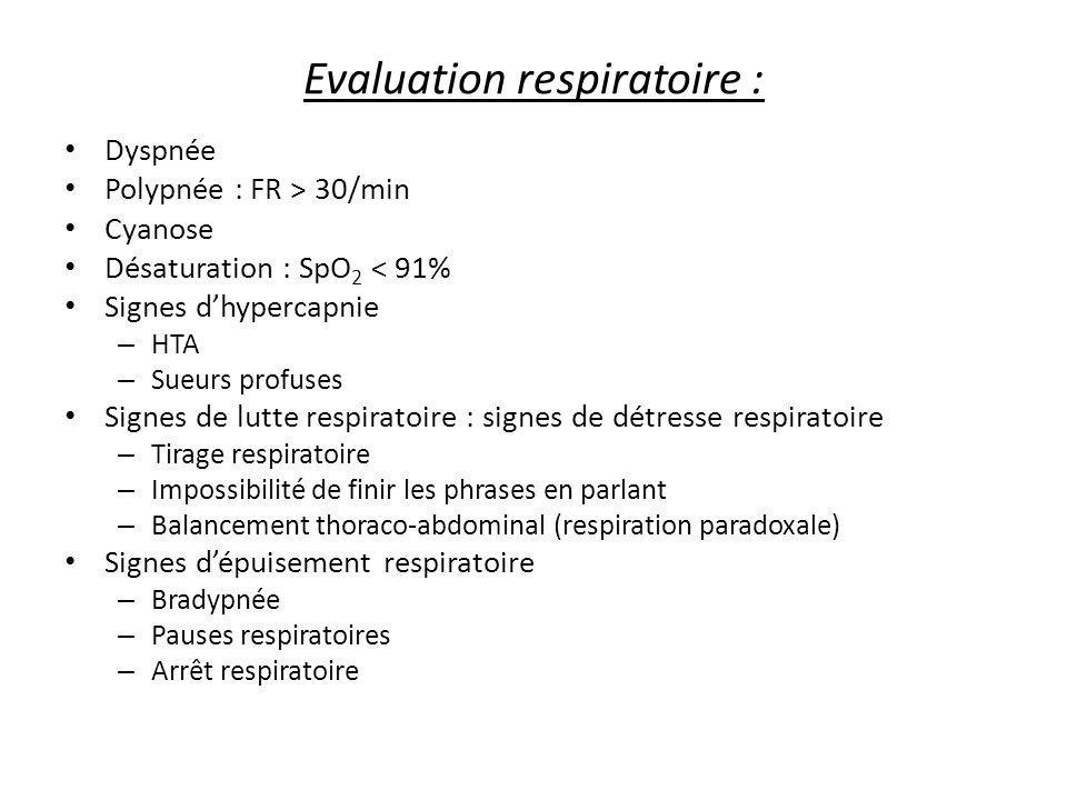 Evaluation respiratoire :