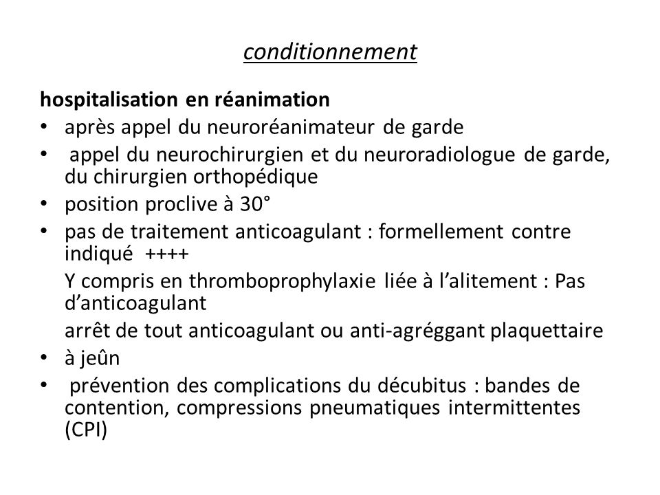 conditionnement hospitalisation en réanimation