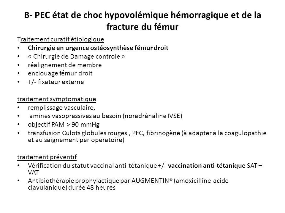 B- PEC état de choc hypovolémique hémorragique et de la fracture du fémur