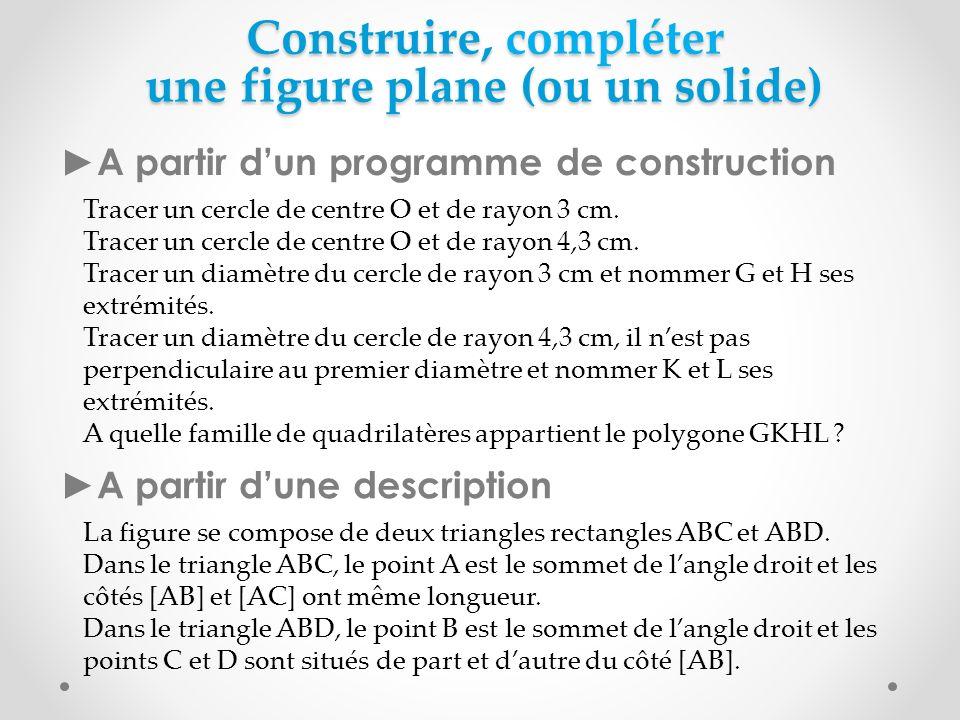 Construire, compléter une figure plane (ou un solide)