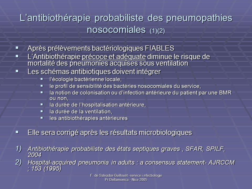 L'antibiothérapie probabiliste des pneumopathies nosocomiales (1)(2)