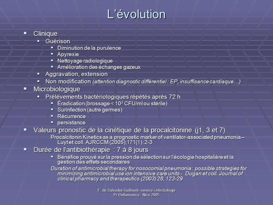 L'évolution Clinique Microbiologique
