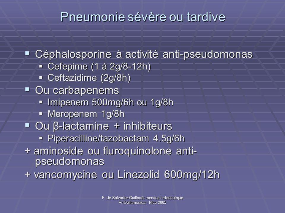 Pneumonie sévère ou tardive