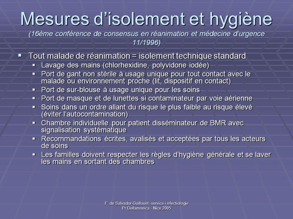 Mesures d'isolement et hygiène (16ème conférence de consensus en réanimation et médecine d'urgence 11/1996)