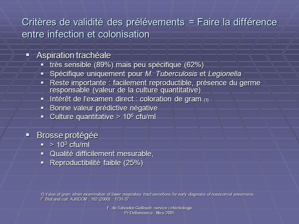 Critères de validité des prélévements = Faire la différence entre infection et colonisation