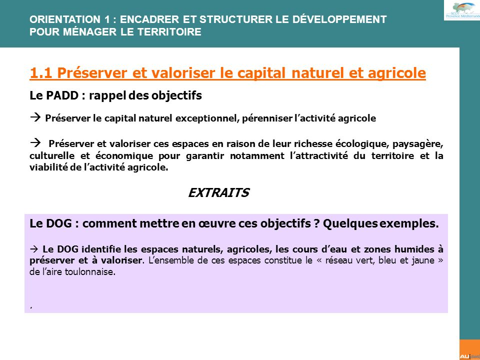 1.1 Préserver et valoriser le capital naturel et agricole